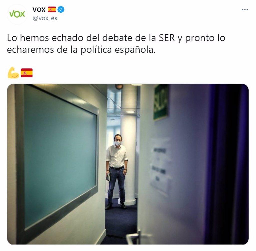 "Vox se mofa de la reacción de Iglesias ante Rocío Monasterio: ""No llores, Pablin"""