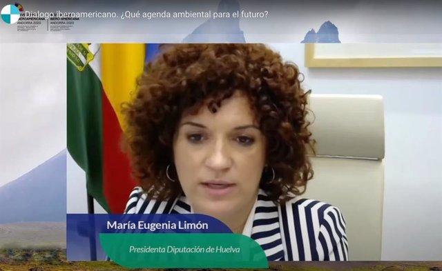 La presidenta de la Diputacion de Huelva, María Eugenia Limón, durante su intervención en la Cumbre Iberoamericana.