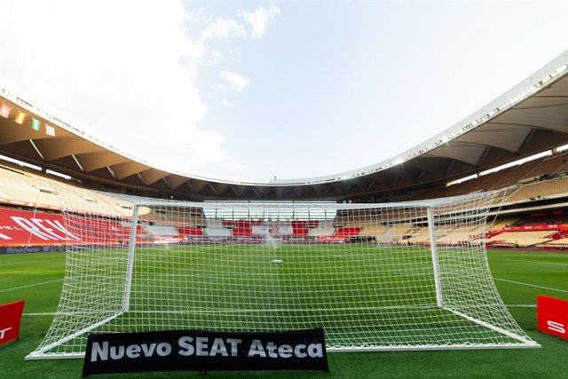 Detail of stadium during Copa Del Rey Final match between Athletic Club and Futbol Club Barcelona at Estadio de La Cartuja on April 17, 2021 in Seville, Spain.