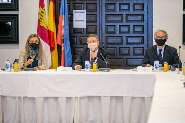 El presidente de Castilla-La Mancha, Emiliano García-Page, asiste a la reunión del Consejo Rector para la candidatura de Sigüenza como Ciudad Patrimonio de la Humanidad por la UNESCO