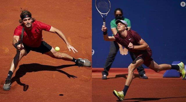 El tenista griego Stefanos Tsitsipas (izquierda) se medirá al italiano Jannik Sinner (derecha) en semifinales del Barcelona Open Banc Sabadell 2021
