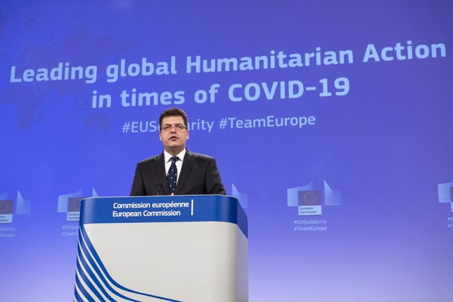 Archivo - HANDOUT - 10 March 2021, Belgium, Brussels: European Commissioner for Crisis Management Janez Lenarcic speaks during a press conference at the EU headquarters on the new outlook for the EU's humanitarian action in light of COVID-19. Photo: Lukas