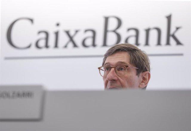 El presidente de CaixaBank, José Ignacio Goirigolzarri, interviene durante una rueda de prensa en la Sede social de CaixaBank, en la Sede social de CaixaBank, Valencia, Comunidad Valenciana, (España), a 26 de marzo de 2021.