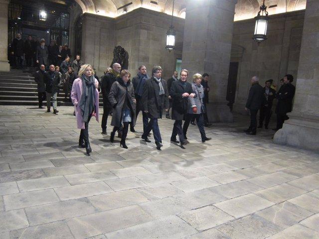 Archivo - Arxiu - Artur Mas, Joana Ortega, Irene Rigau, Carles Puigdemont, Oriol Junqueras i Raül Romeva surten de la Generalitat per anar al judici pel 9-N.