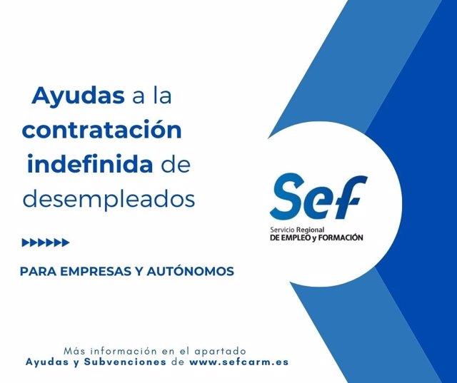 Imagen del cartel de la convocatoria de ayudas para la contratación indefinida de desempleados