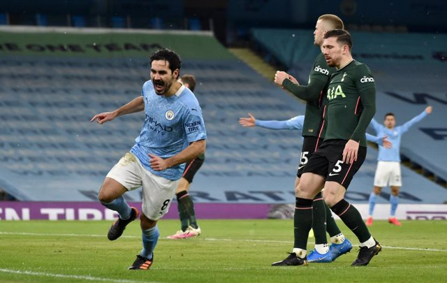Archivo - 13 February 2021, United Kingdom, Manchester: Manchester City's Ilkay Gundogan celebrates scoring his side's second goal during the English Premier League soccer match between Manchester City and Tottenham Hotspur at the Etihad Stadium. Photo: R