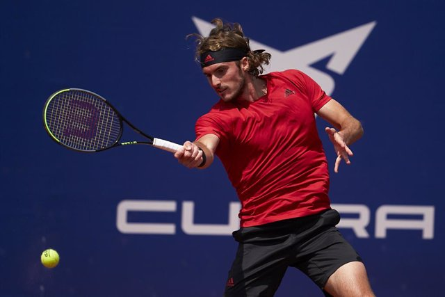 BARCELONA, SPAIN - APRIL 24: Stefanos Tsitsipas of Greece. ATP Barcelona Open Banc Sabadell at the Real Club de Tenis Barcelona on April 24, 2021 in Barcelona, Spain. (Photo by Manuel Queimadelos/Quality Sport Images)