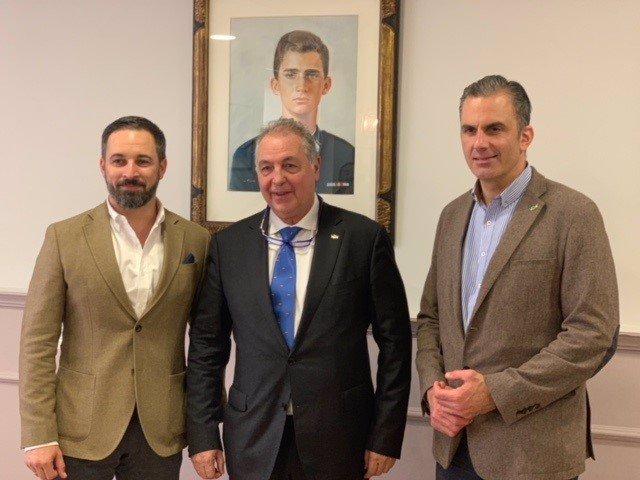 Imagen de archivo de Jesús Delgado, cuando aún pertenecía a Vox, con Santiago Abascal y Javier Ortega-Smith