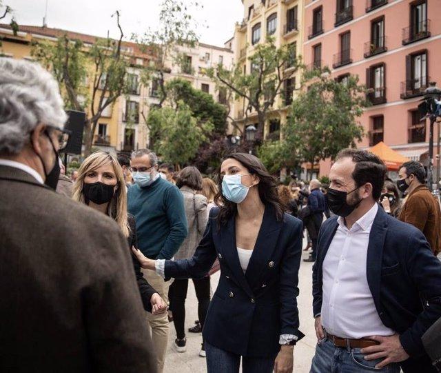 La coordinadora autonómica de Cs, Patricia Guasp, junto a la presidenta de la formación naranja, Inés Arrimadas, en Madrid.