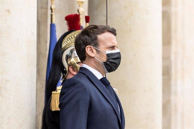 09 April 2021, France, Paris: French President Emmanuel Macron awaits the arrival of President of Togo Faure Gnassingbe at the Elysee Palace. Photo: Sadak Souici/Le Pictorium Agency via ZUMA/dpa