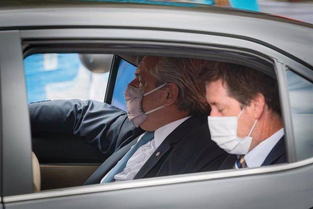 El presidente de Argentina, Alberto Fernández, llega al Congreso del país
