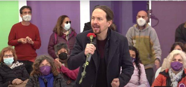 El candidato de Unidas Podemos a la Presidencia de la Comunidad de Madrid, Pablo Iglesias, en un mitin en Collado Villalba