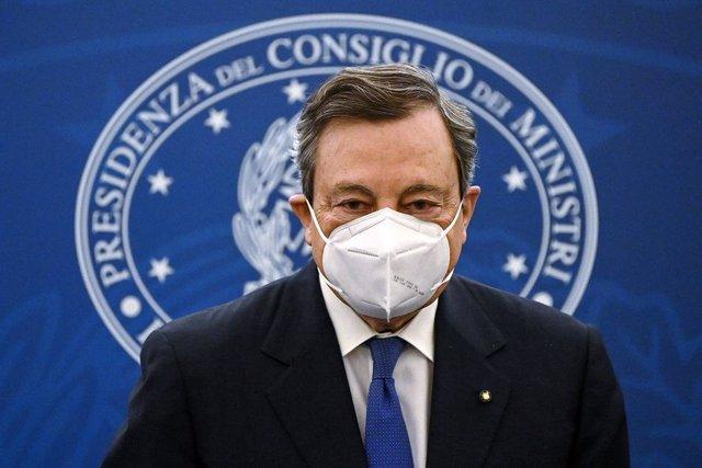 08 April 2021, Italy, Rome: Italian Prime Minister Mario Draghi arrives for a press conference on the vaccination plan to fight COVID-19 pandemic. Photo: Riccardo Antimiani/Pool Ansa via LaPresse via ZUMA Press/dpa