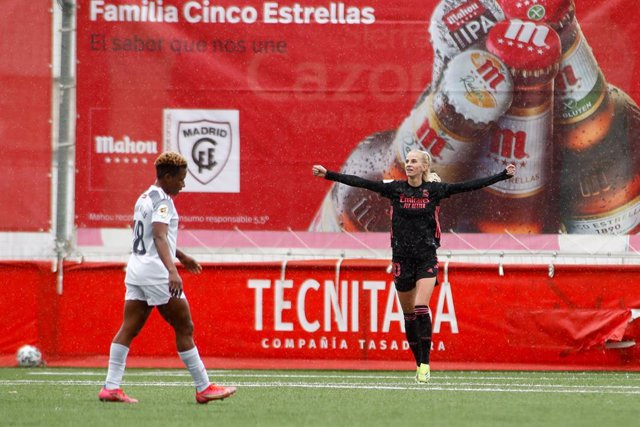 Sofia Jakobsson of Real Madrid celebrates a goal during the spanish women league, Primera Iberdrola, football match played between Madrid CFF and Real Madrid at Estadio Matapinonera on April 25, 2021, in San Sebastian de los Reyes, Madrid, Spain.