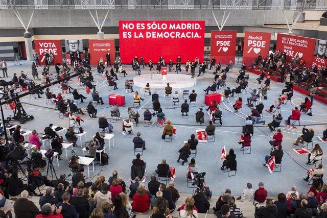 Vista general de un acto electoral del PSOE en Getafe, a 25 de abril de 2021, en Getafe, Madrid (España).