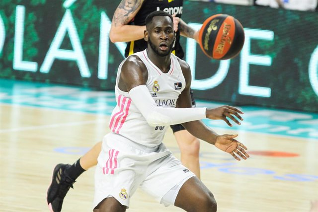 Usman Garuba of Real Madrid in action during the Liga ACB match between Real Madrid and Lenovo Tenerife at WiZink Center on April 13, 2021 in Madrid, Spain.