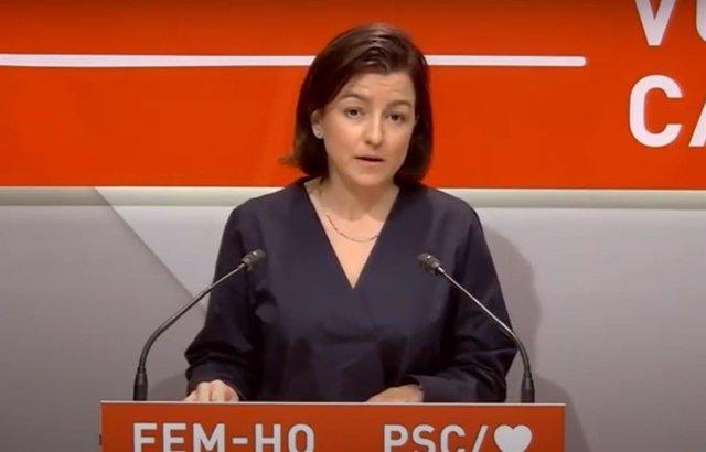 La viceprimera secretaria del PSC, Eva Granados, en rueda de prensa.
