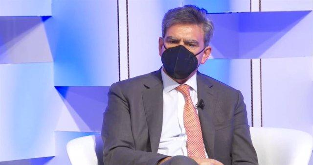 El consejero delegado de Banco Santander, José Antonio Álvarez, en el el evento 'Fondos europeos para la recuperación: la gran oportunidad para la transformación de la economía y la empresa española' organizado por Deloitte y El País.