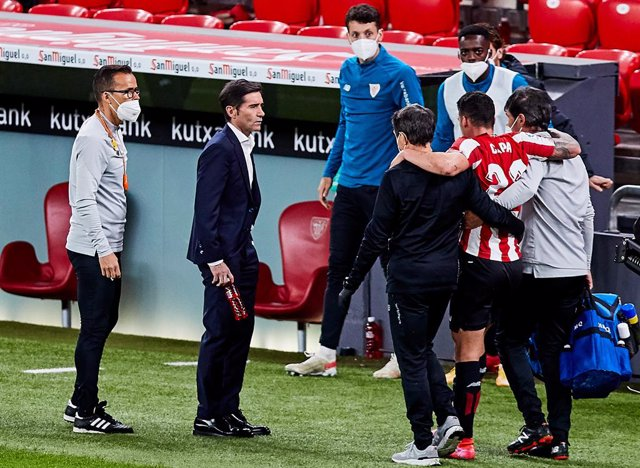 Ander Capa of Athletic Club injured during the Spanish league, La Liga Santander, football match played between Athletic Club and Atletico de Madrid at San Mames stadium on April 25, 2021 in Bilbao, Spain.