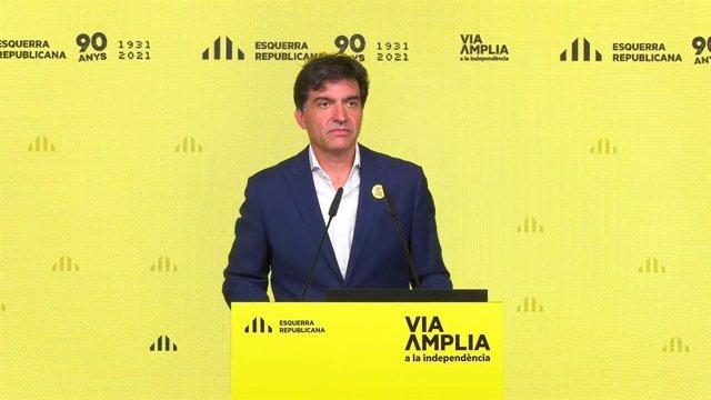 El diputat d'ERC al Parlament Sergi Sabrià en una roda de premsa telemàtica.
