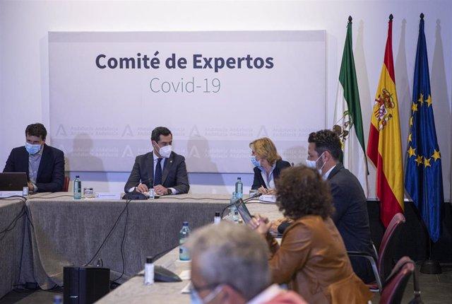 Archivo - El presidente de la Junta de Andalucía, Juanma Moreno (2i), en una reunión del Consejo Asesor de Alertas de Salud Pública de Alto Impacto (Comité de Expertos), en una foto de archivo.