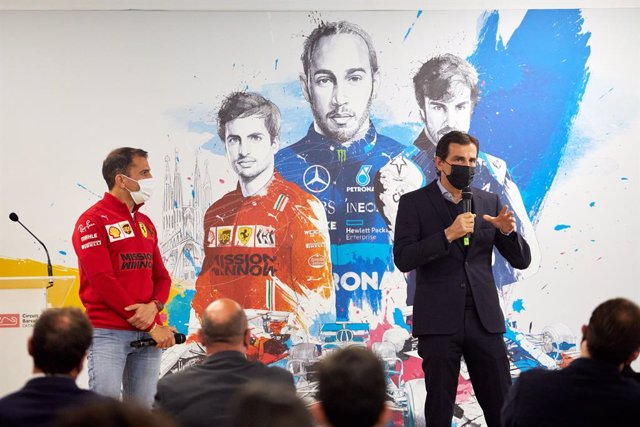 Presentación del Gran Premio de España 2021 de Fórmula 1, en el Circuit de Barcelona-Catalunya, con Marc Gené y Pedro De la Rosa
