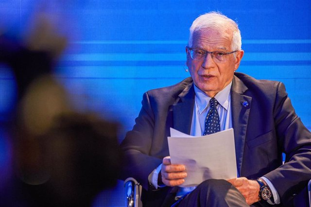 HANDOUT - 30 March 2021, Belgium, Brussels: European Union High Representative for Foreign Affairs Josep Borrell speaks during the second day of the fifth Brussels Conference on 'Supporting the future of Syria and the region' at the European Commission he