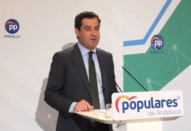 Juanma Moreno durante su intervención en el Comite Ejecutivo Autonómico del PP-A.