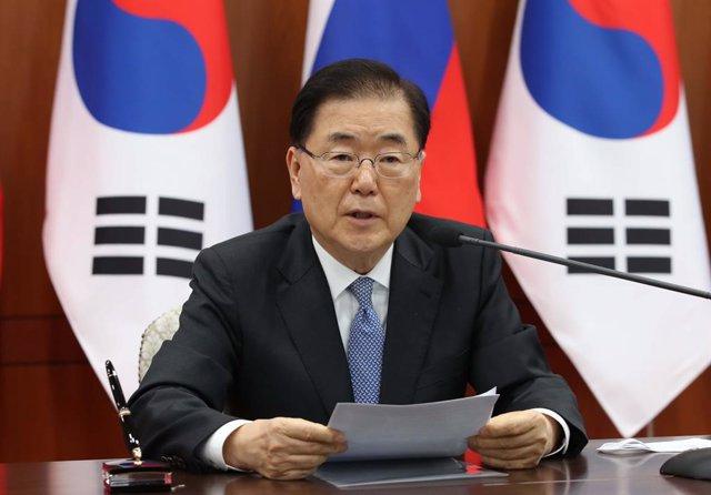Archivo - El ministro de Exteriores de Corea del Sur, Chung Eui Yong