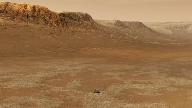 Ilustración del rover Perseverance de la NASA trabajando dentro del cráter Jezero en Marte.