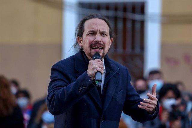 El candidato de Unidas Podemos a la Presidencia de la Comunidad, Pablo Iglesias durante un acto del partido a 23 de abril de 2021 en el distrito de Villaverde, en Madrid (España). Foto de archivo.