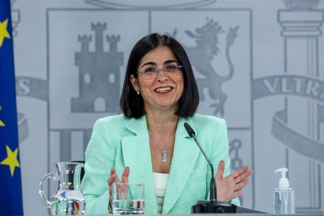 La ministra de Sanidad, Carolina Darias durante una rueda de prensa posterior al Consejo Interterritorial del Sistema Nacional de Salud en la Secretaría de Estado de Comunicación del Complejo de la Moncloa, a 21 de abril de 2021, en Madrid (España). El In