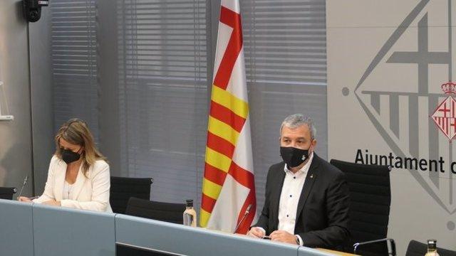 Eva Parera i Jaume Collboni presenten la Taula d'Empreses Tractores de l'Economia i l'Ocupació per reactivar l'economia a Barcelona.