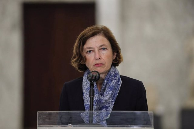 Archivo - HANDOUT - 14 August 2020, Lebanon, Baabda: French Minister of the Armed Forces Florence Parly holds a press conference after a meeting with Lebanese President Michel Aoun. Photo: -/Dalati & Nohra/dpa - ATTENTION: editorial use only and only if t