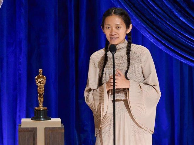 Chloé Zhao accepts the Directing award for 'Nomadland' onstage during the 93rd Annual Academy Awards at Union Station on April 25, 2021 in Los Angeles, California.