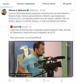 Captura del tuit de Fernández Mañueco.
