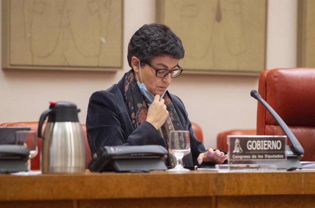 La ministra de Asuntos Exteriores, Unión Europea y Cooperación, Arancha González Laya, comparece en la Comisión de Asuntos Exteriores, en el Congreso de los Diputados, a 22 de abril de 2021, en Madrid (España). González Laya comparece a petición propia, c