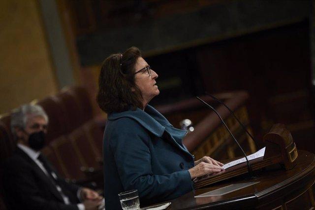 Archivo - La diputada de Unidas Podemos Rosa María Medel interviene en una sesión plenaria celebrada en el Congreso de los Diputados, en Madrid, (España), a 11 de marzo de 2021. El pleno estará marcado, entre otras cuestiones, por la decisión de la presid