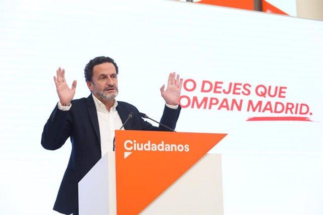 """El candidato de Ciudadanos (Cs) a la presidencia de la Comunidad de Madrid, Edmundo Bal, durante una rueda de prensa, a 26 de abril de 2021, en Madrid, (España). En la rueda de prensa el candidato a las elecciones del 4 de mayo ha rechazado imponer un """"co"""