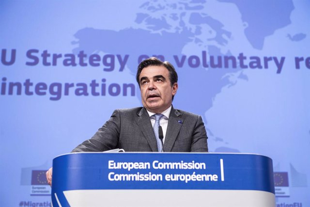 HANDOUT - 27 April 2021, Belgium, Brussels: Margaritis Schinas, Vice-President of the European Commission in charge of promoting our European Way of Life, speaks during a press conference on the EU Strategy on sustainable voluntary return and reintegratio