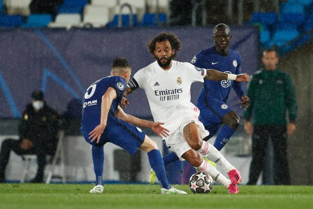 Marcelo Vieira of Real Madrid in action during the UEFA Champions League, Semifinals Leg Two, football match played between Real Madrid and Chelsea FC at Alfredo Di Stefano stadium on April 27, 2021, in Valdebebas, Madrid, Spain.