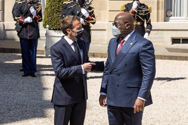 27 April 2021, France, Paris: French President Emmanuel Macron (L)receives Congolese President Felix Tshisekedi at the Elysee Palace. Photo: Sadak Souici/Le Pictorium Agency via ZUMA/dpa