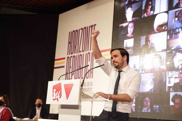 El coordinador federal de IU, Alberto Garzón, durante su intervención en la XII Asamblea Federal que le reeligió como líder de la formación.