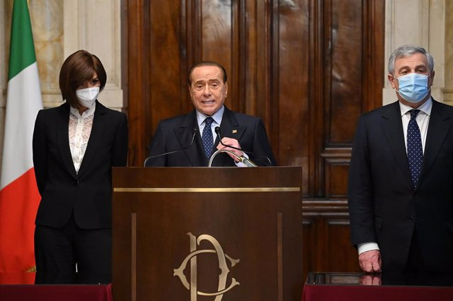 Archivo - 09 February 2021, Italy, Rome: Former Italian Prime Minister Silvio Berlusconi speaks during a press conference after his meeting with Mario Draghi, at the Italian Chamber of Deputies. Draghi, the former chief of the European Central Bank has be