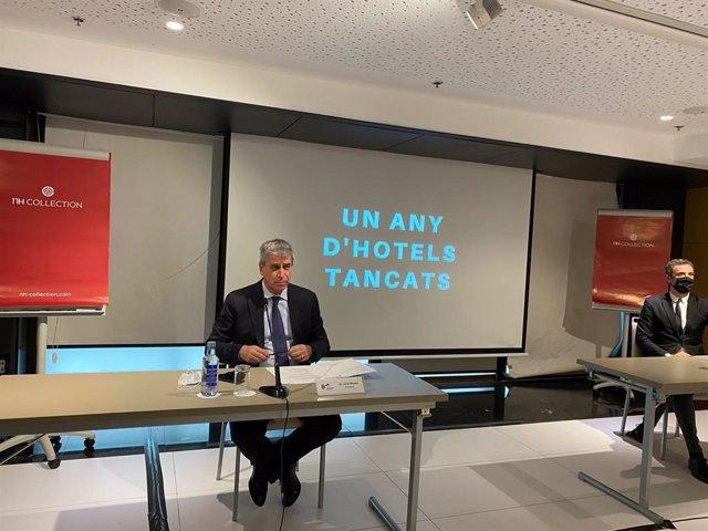 El president del Gremi d'Hotels de Barcelona, Jordi Mestre, durant la roda de premsa.