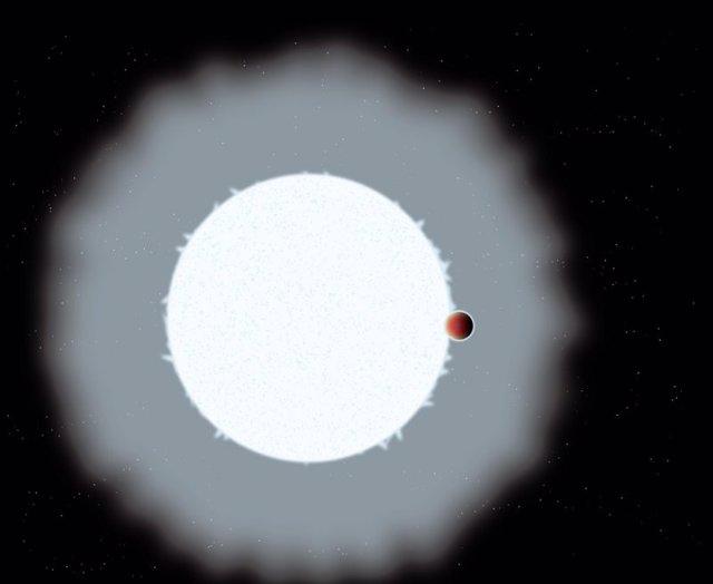 Impresión artística de un exoplaneta de Júpiter ultracaliente, WASP-33b.