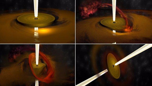 La concepción del artista ilustra el proceso observado en la formación de estrellas mucho más masivas que el Sol.