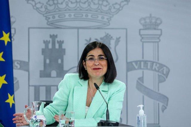 La ministra de Sanidad, Carolina Darias durante una rueda de prensa
