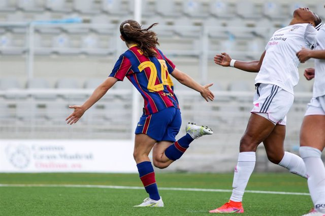Bruna Vilamala of FC Barcelona celebrates a goal during the spanish women league, Primera Iberdrola, football match played between Madrid CFF and FC Barcelona at Antiguo Canodromo on April 28, 2021 in Madrid, Spain.