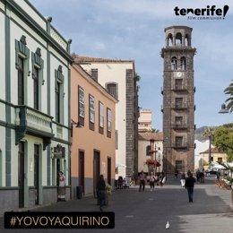 Archivo - Cartel promocional de los Premios Quirino con una imagen de la ciudad de La Laguna